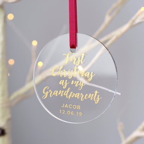 Personalised Acrylic Grandparents First Christmas Decoration