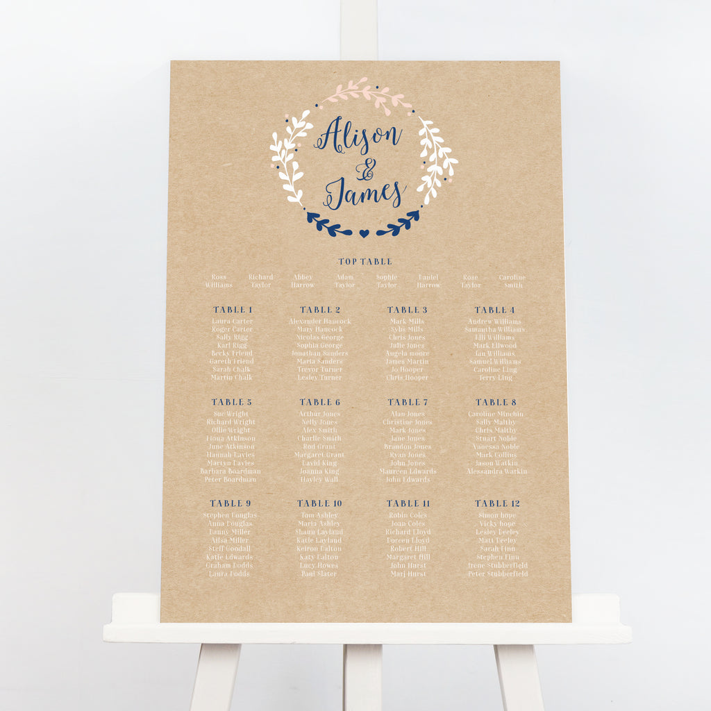 Hannah rustic wreath wedding table plan