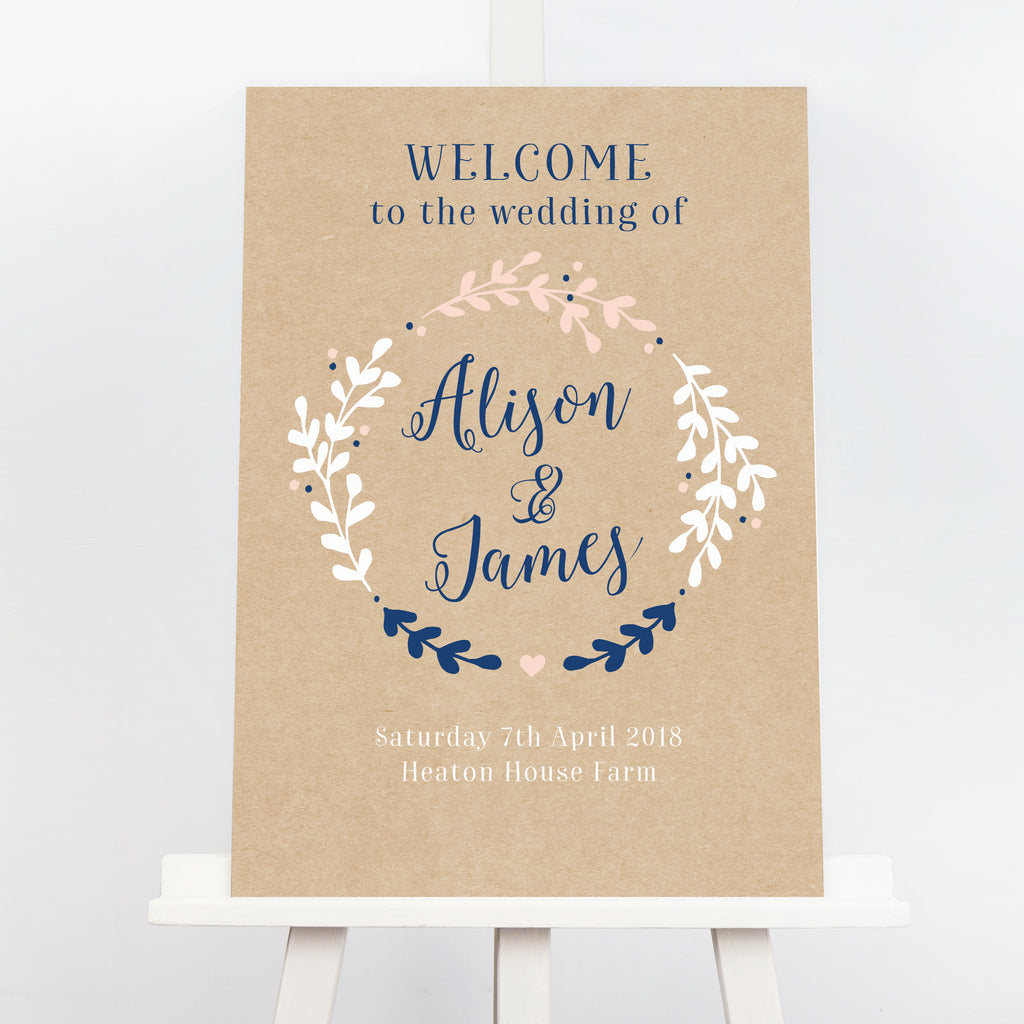 Hannah rustic wreath welcome sign