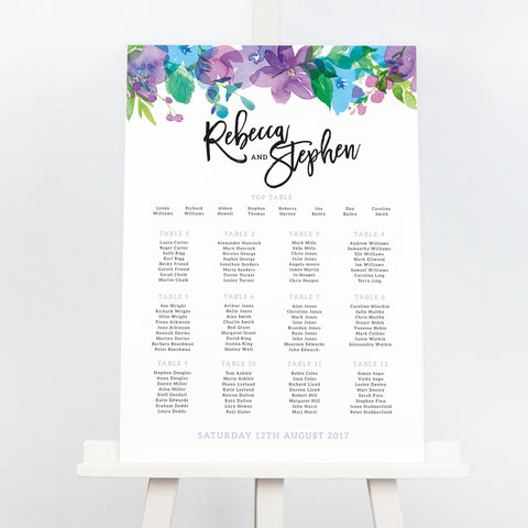 Harlow bold purple floral wedding table plan
