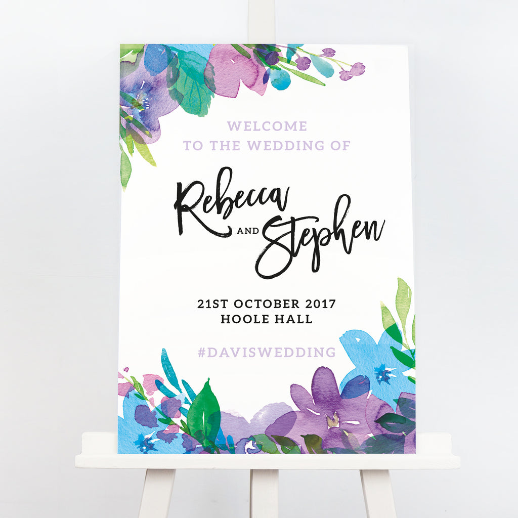 Harlow purple wedding welcome sign