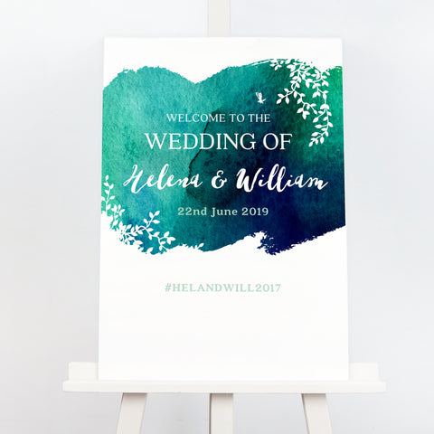 Navy and green Helena wedding welcome sign