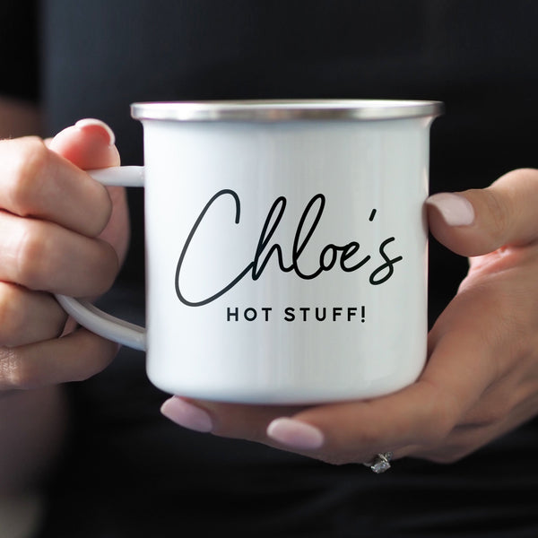 Personalised 'Hot Stuff!' Enamel Mug