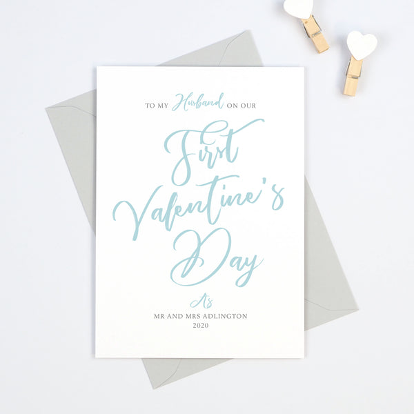 "Personalised ""Script"" To My Husband On Our First Valentine's Day Card"