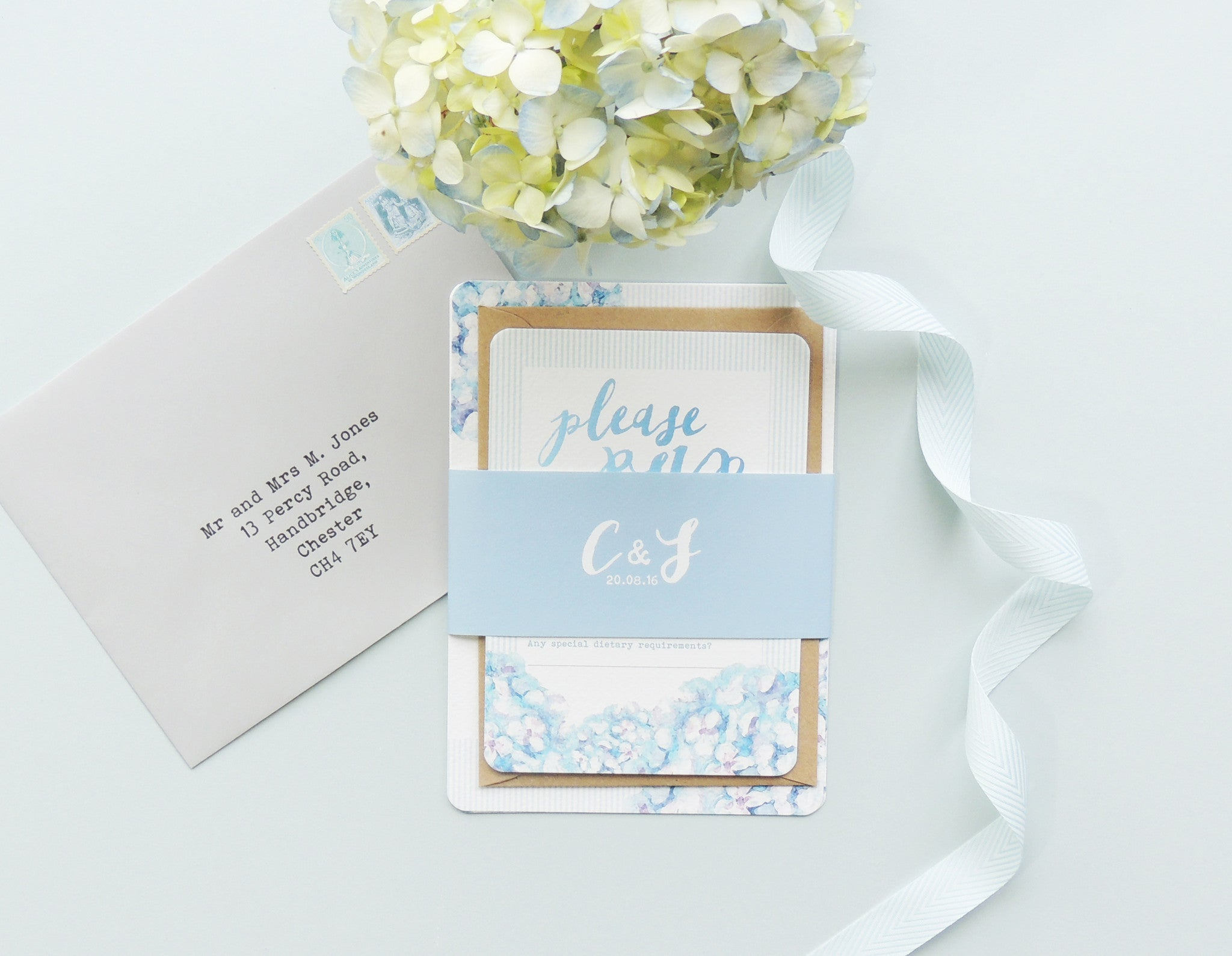 Hydrangea Blue Wedding Invitation - Project Pretty  - 6