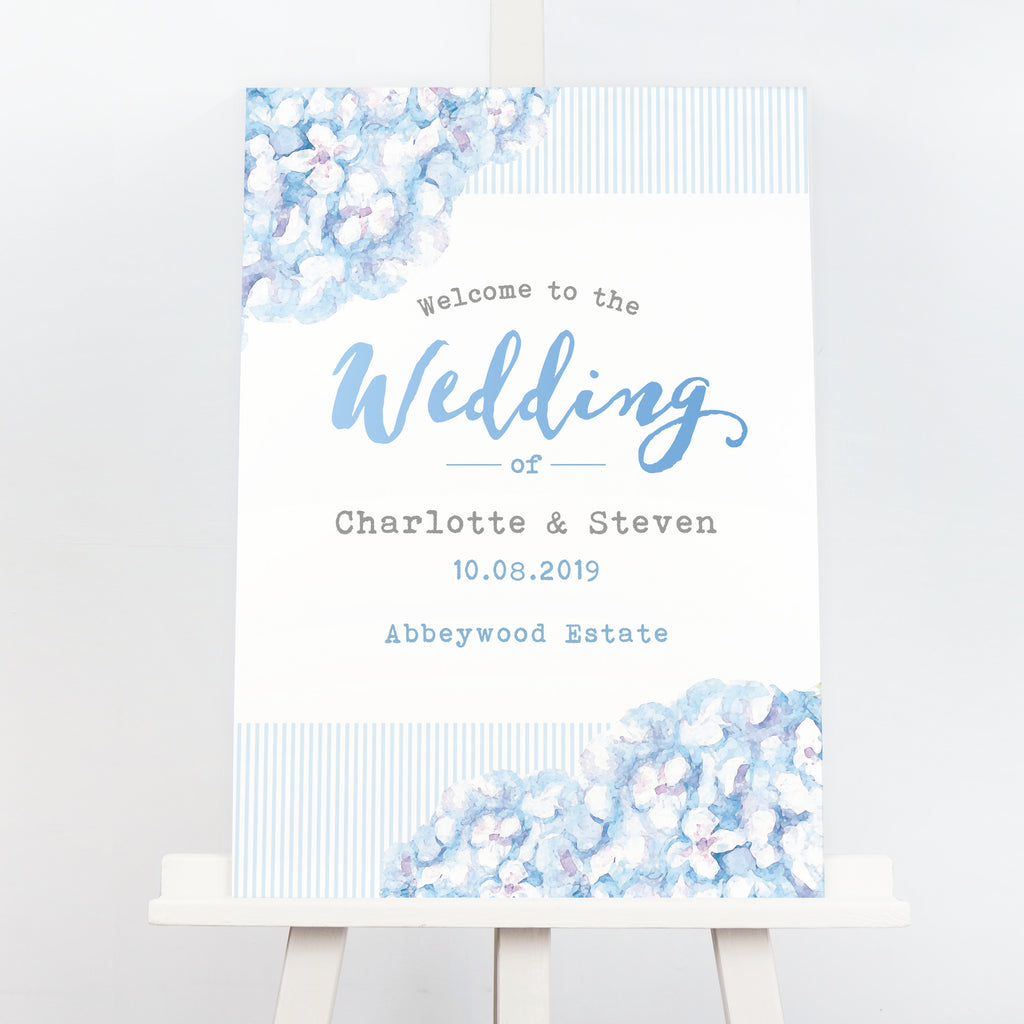 Blue hydrangea wedding welcome sign