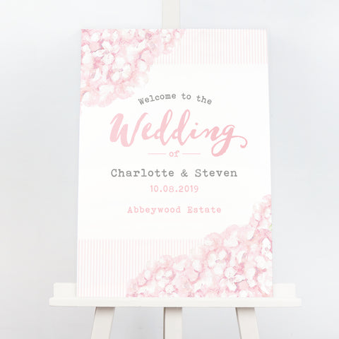 Pink floral hydrangea wedding welcome sign