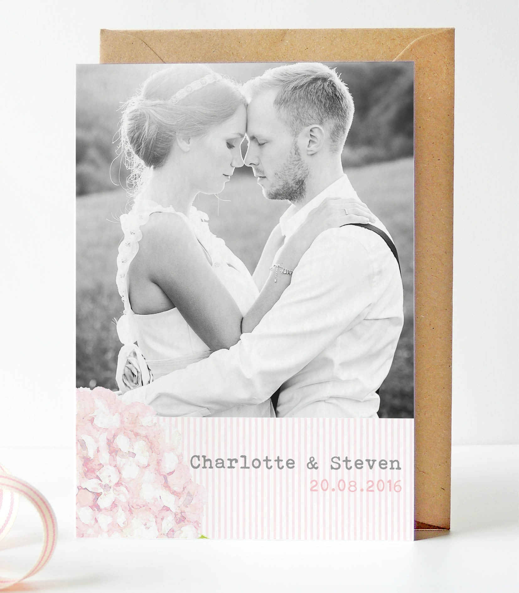 Hydrangea Pink Wedding Photo Thank You Cards - Project Pretty