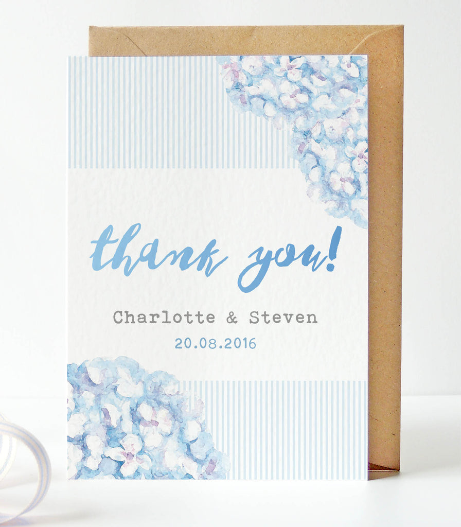 Hydrangea Blue Thank You Card - Project Pretty