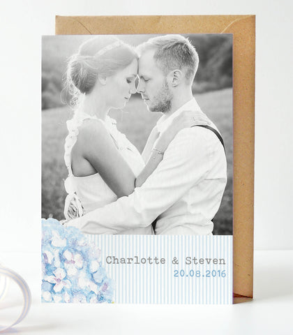 Hydrangea Blue Wedding Photo Thank You Cards