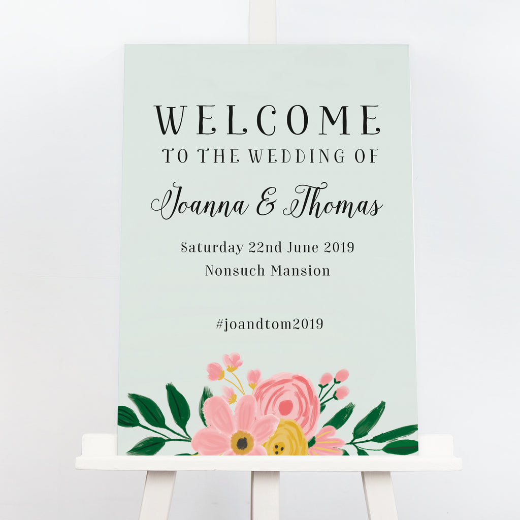Green rustic floral wedding welcome sign