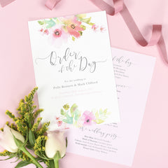 Juliette Wedding Order Of The Day Program Cards
