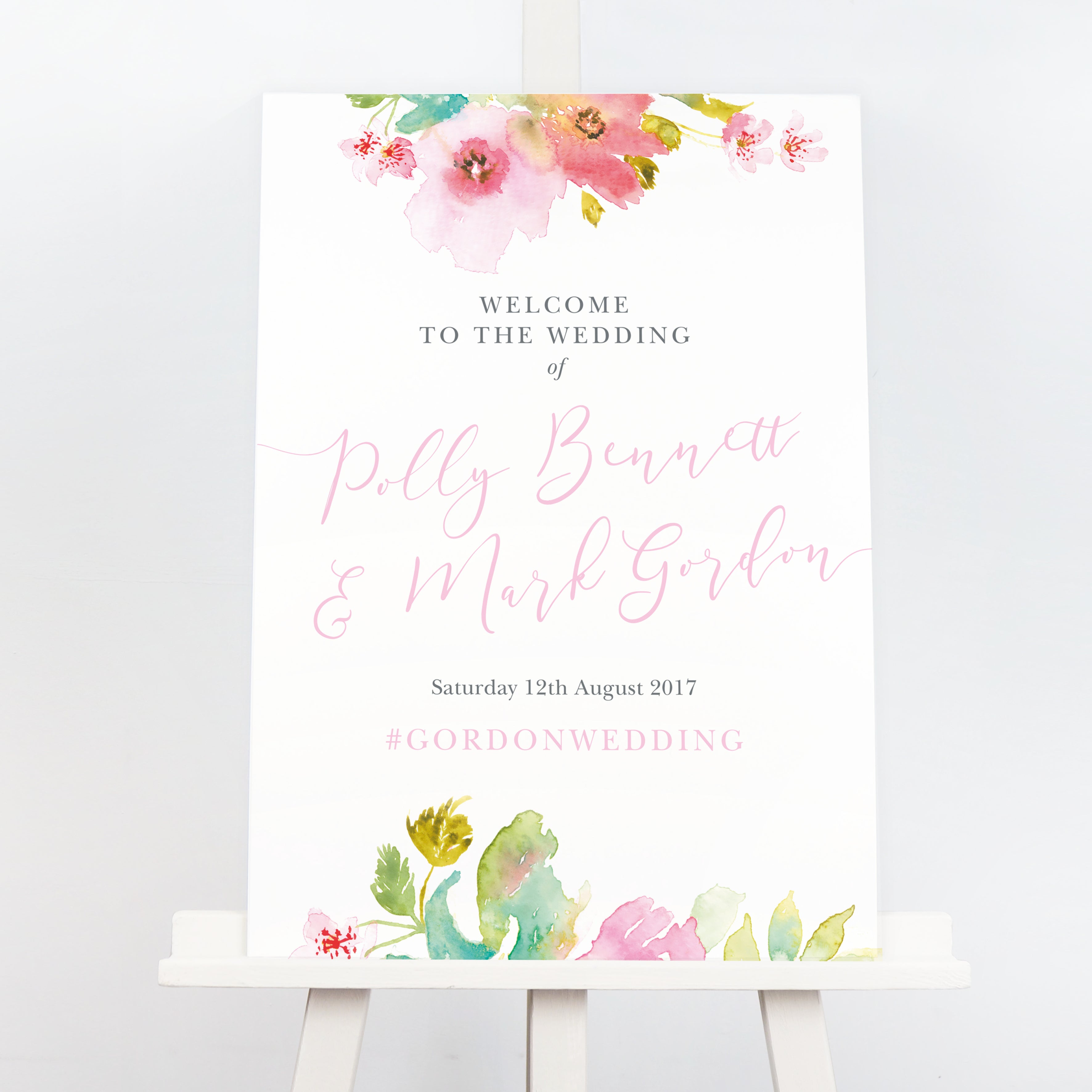 Juliette floral watercolour wedding welcome sign
