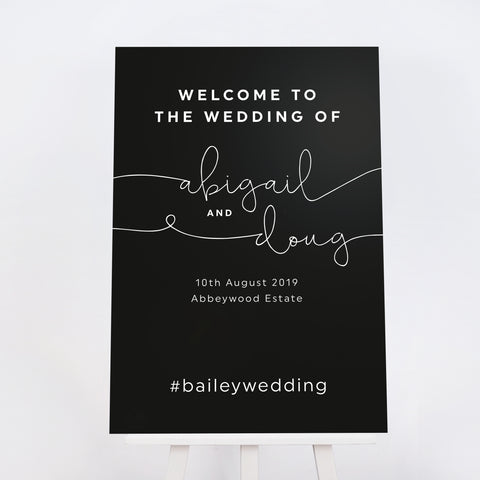Black Kate wedding welcome sign