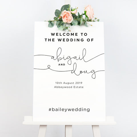 Kate modern wedding welcome sign