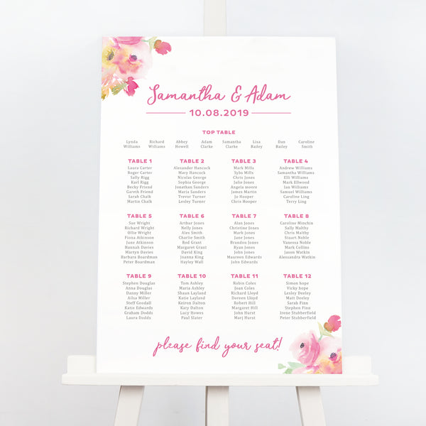 Lucy pink floral wedding seating chart