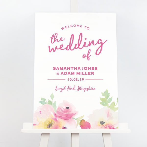 Lucy pink rose wedding welcome sign