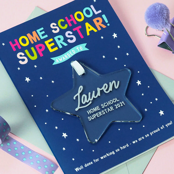 Personalised 'Home School Superstar' Keepsake Award Card