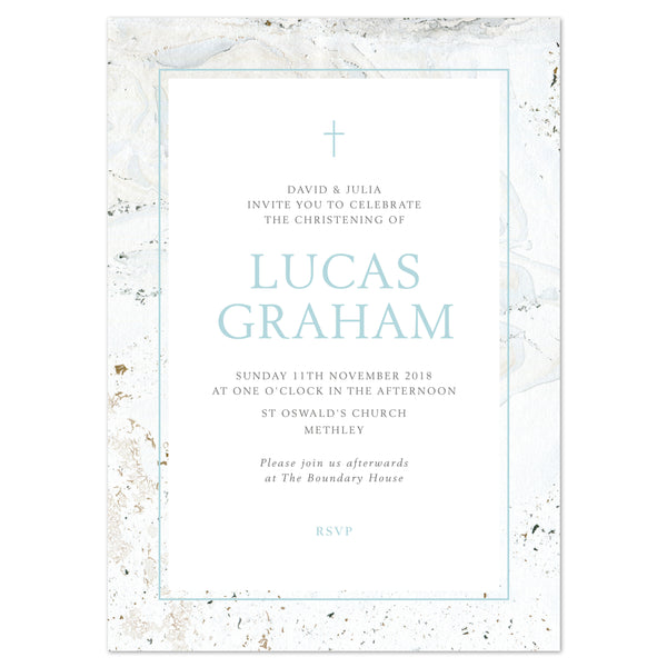 Marble Christening/baptism invitation