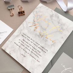 Marble copper foil printed Wedding Invitations