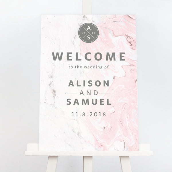 Marble wedding welcome sign