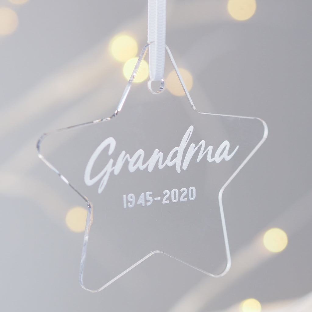 Personalised In Memory Of Star Christmas Decoration