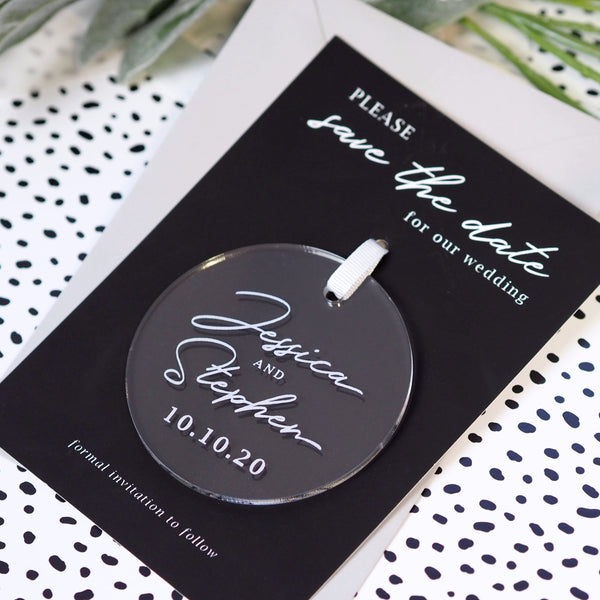 Minimal hanging acrylic save the date