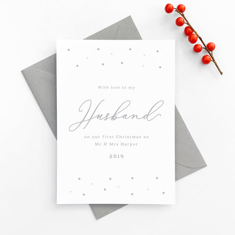 Personalised star minimalist 'To My Husband On Our First Christmas' Card