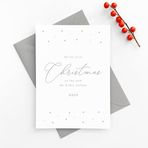 Personalised grey star 'Our First Christmas' Card