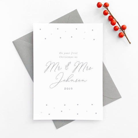 Personalised Star Minimalist Newlyweds First Christmas Card