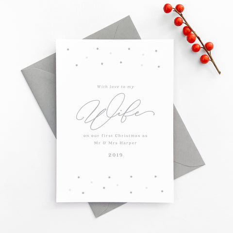 Personalised star minimalist 'To My Wife On Our First Christmas' Card
