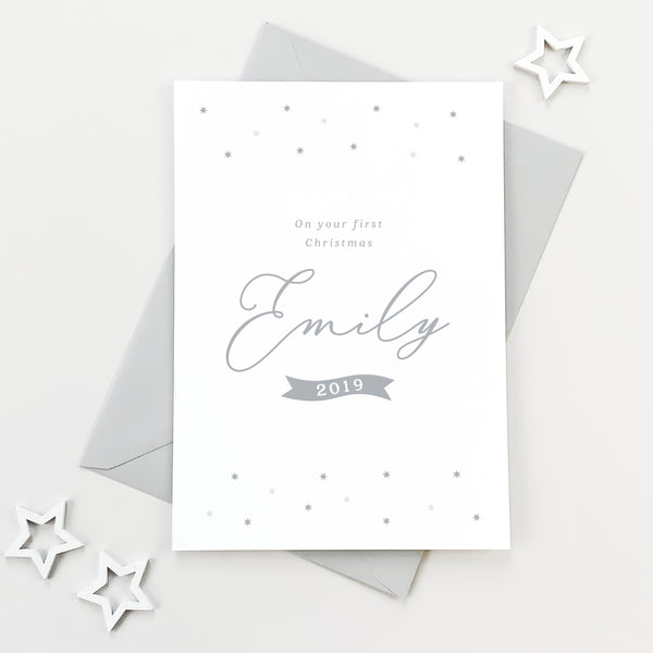 Minimal Baby's First Christmas card