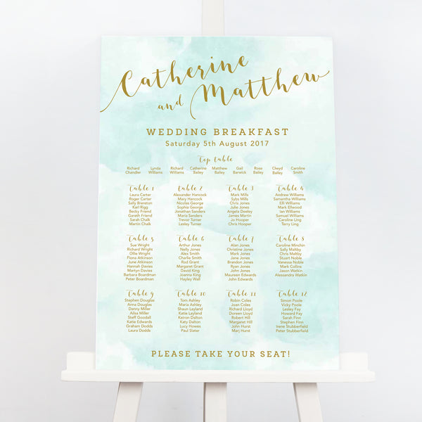 Mint and gold Romance wedding table plan