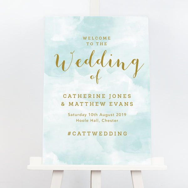 Mint and gold wedding welcome sign