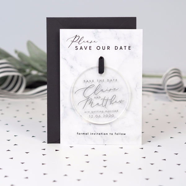 Monochrome Marble hanging acrylic save the date