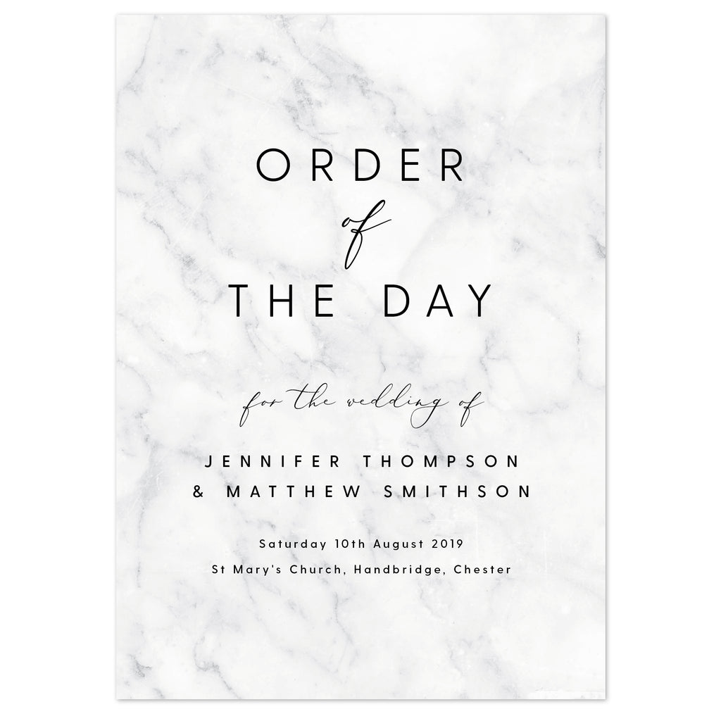Monochrome Marble Wedding Order Of The Day Program Cards