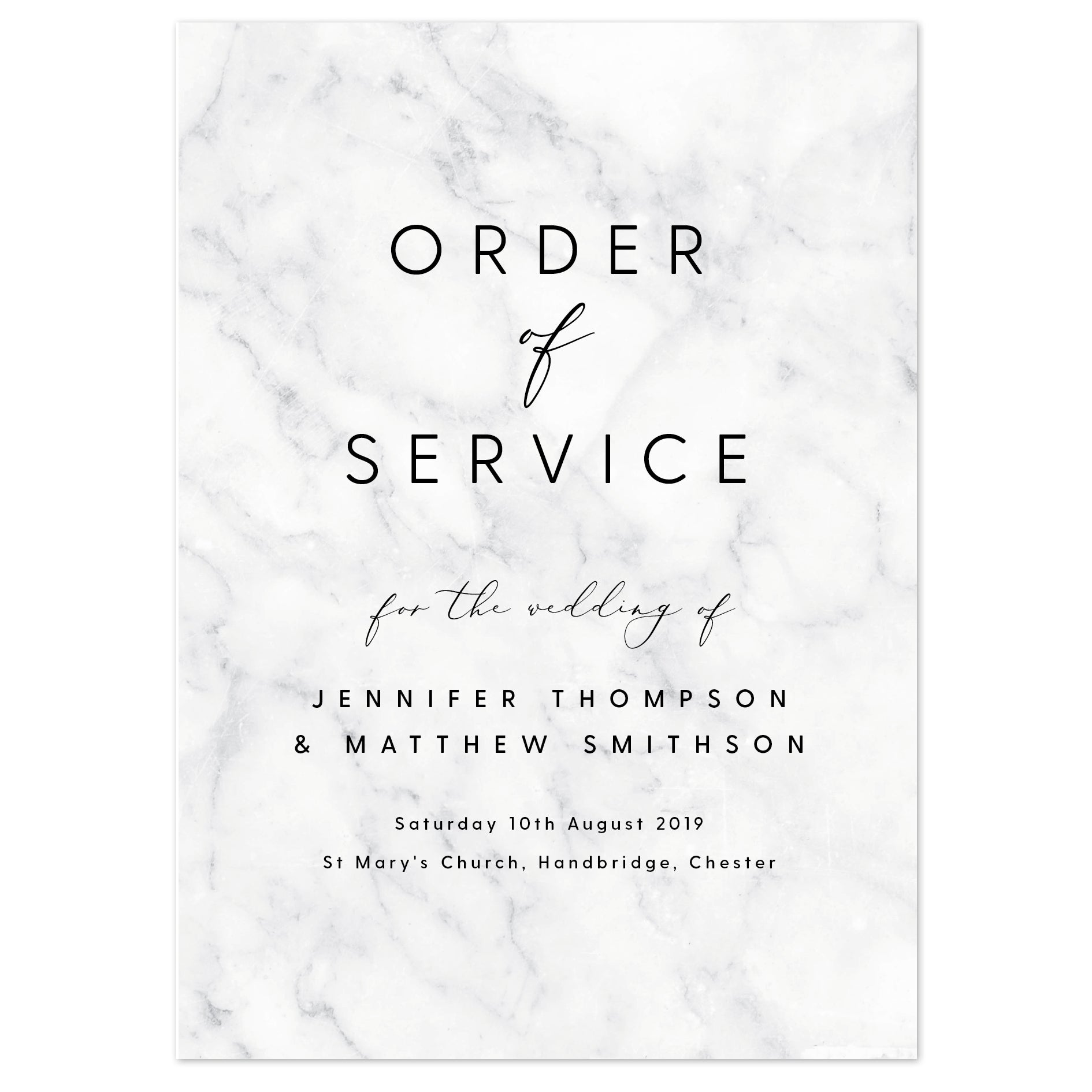 Monochrome marble wedding order of service