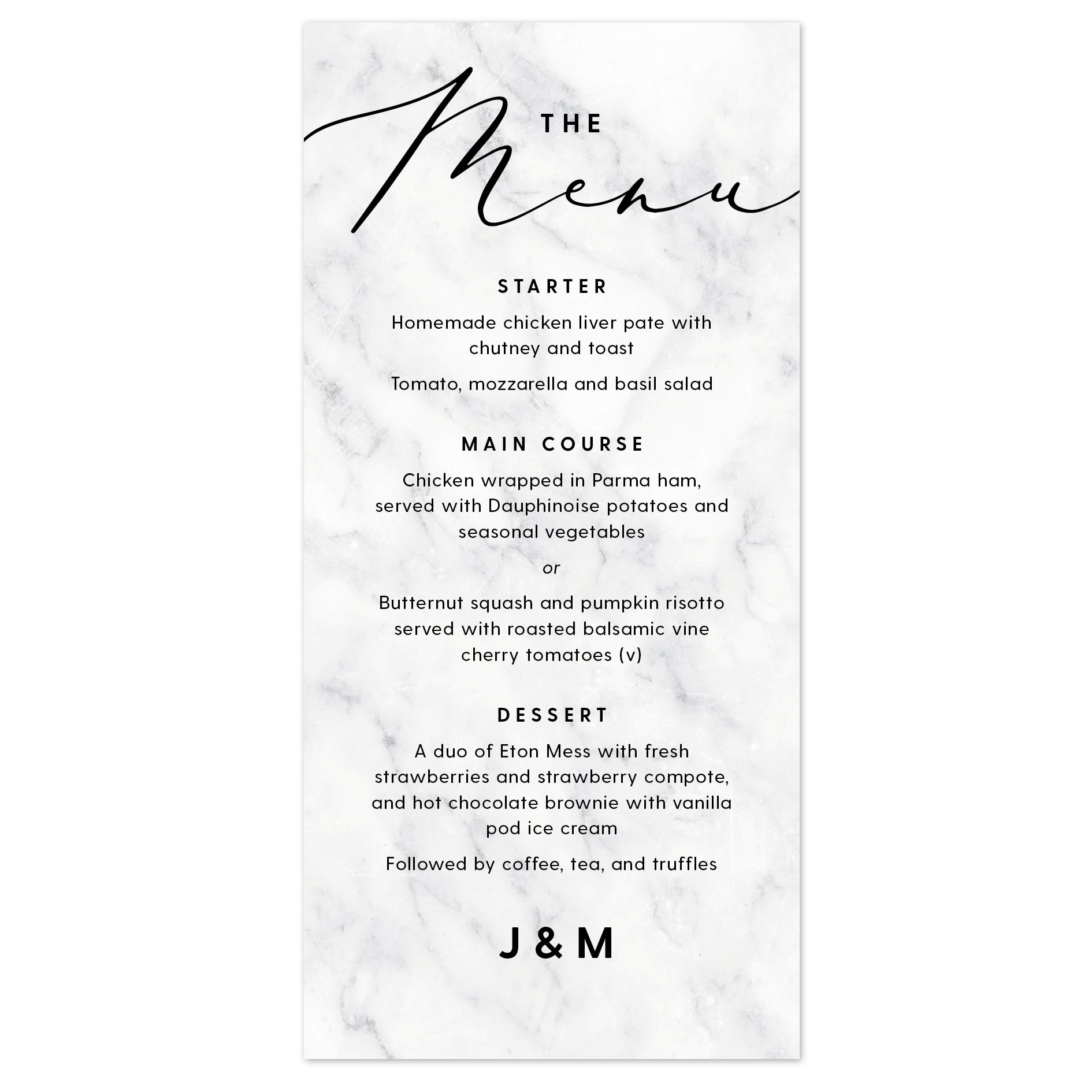 Monochrome Marble Wedding Menu Cards