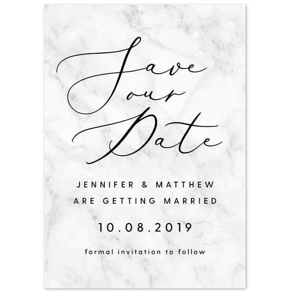 Monochrome Marble Save The Date