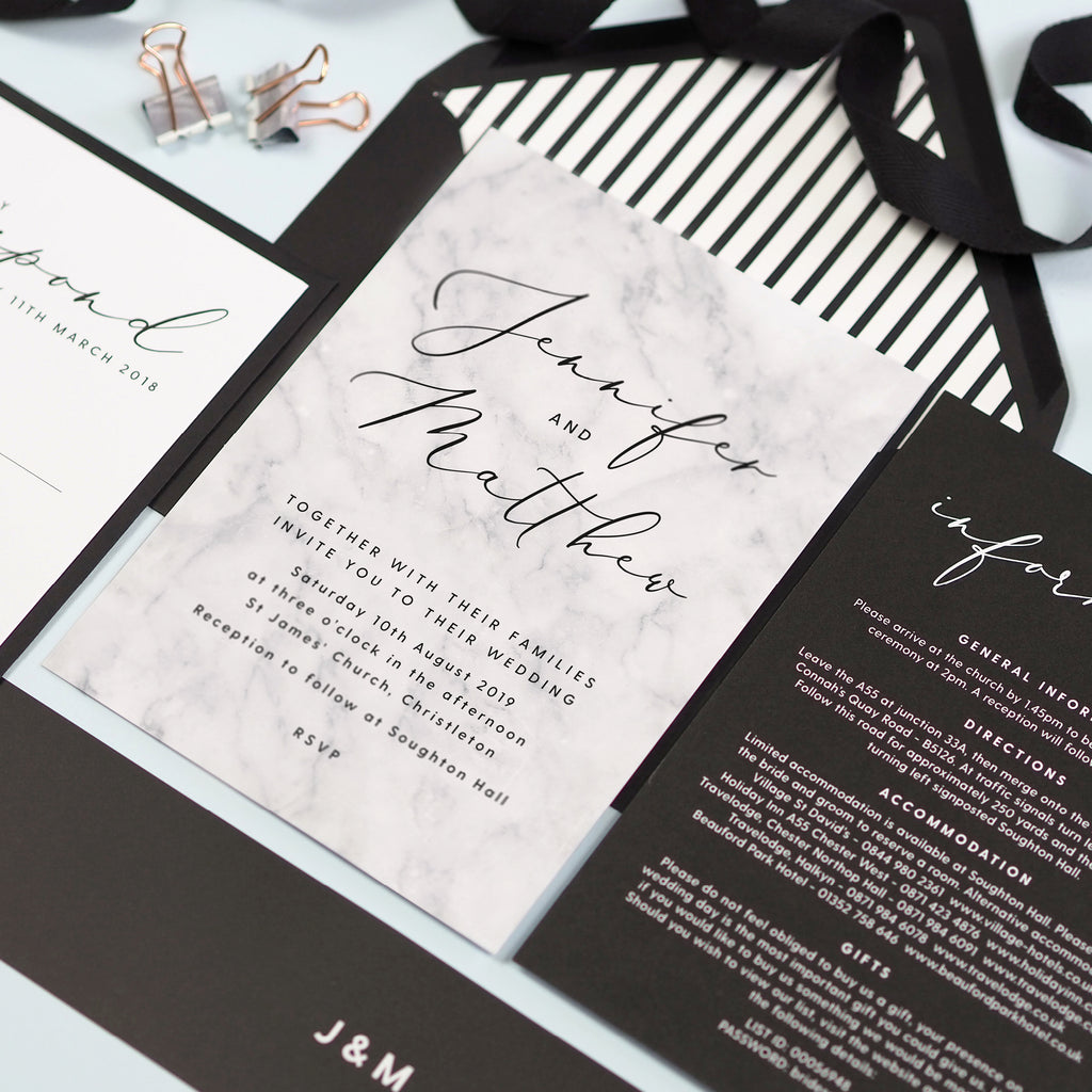 Monochrome Marble Wedding Invitation