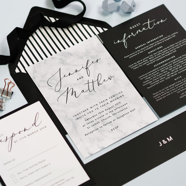 Monochrome Marble RSVP card
