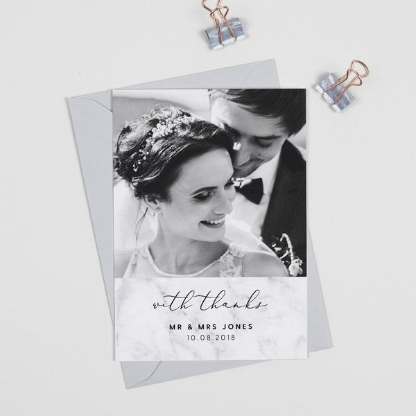 Monochrome Marble Wedding Photo Thank You Cards