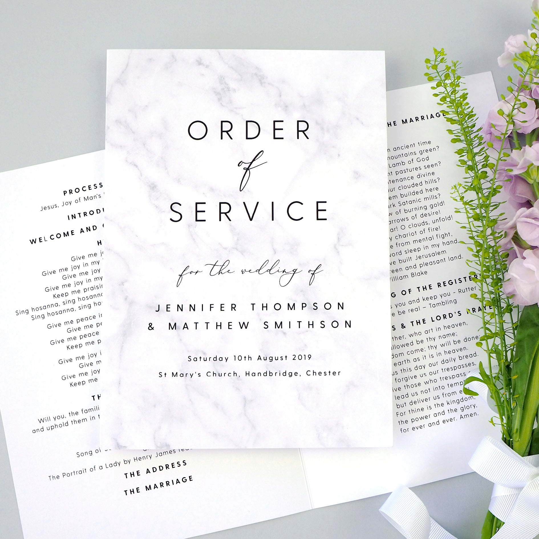 personalised marble order of service booklet
