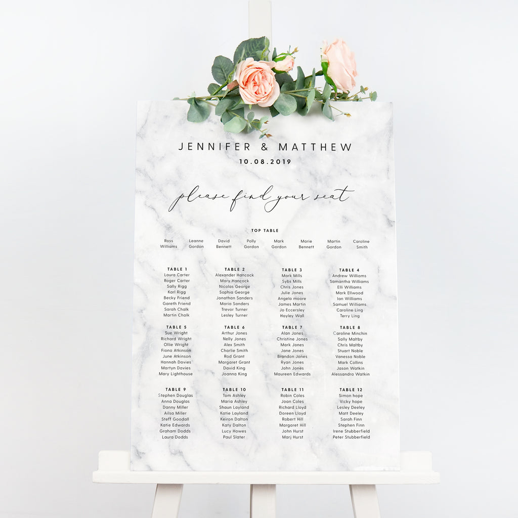 Monochrome marble wedding table plan