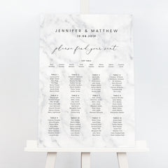 Monochrome marble wedding seating chart