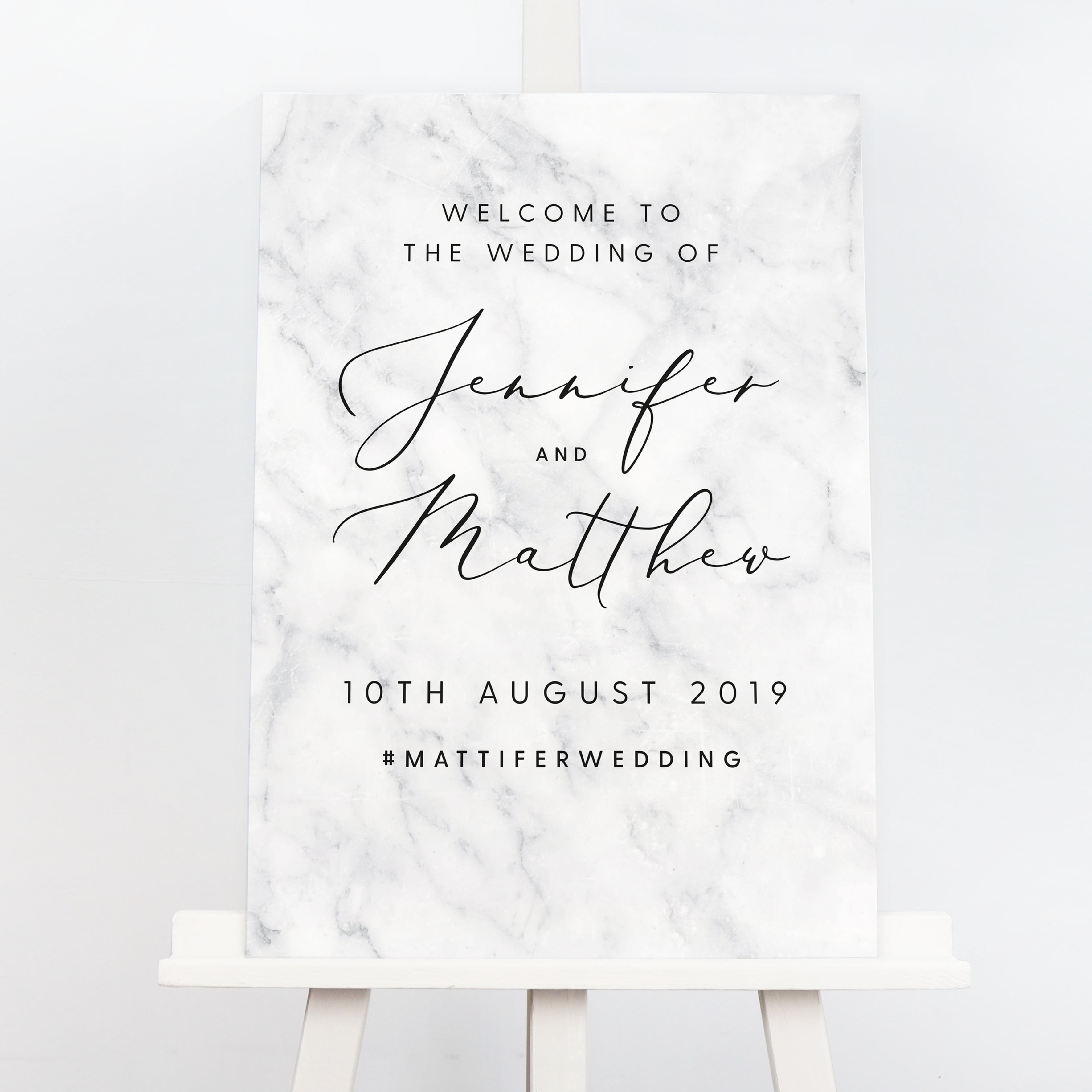 Monochrome marble order of the day sign