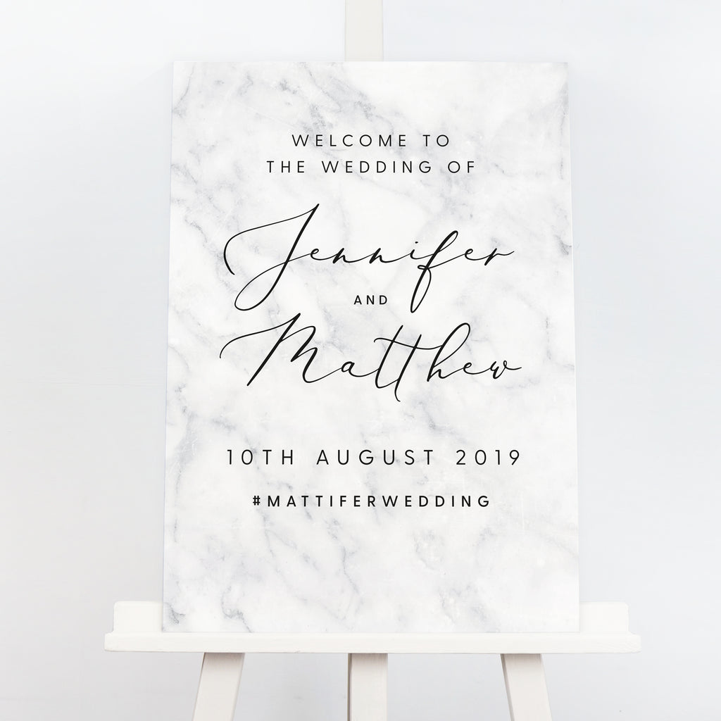 Monochrome marble wedding welcome sign