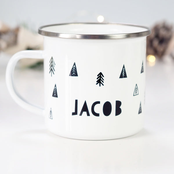 Personalised Monochrome Christmas Tree Enamel Mug