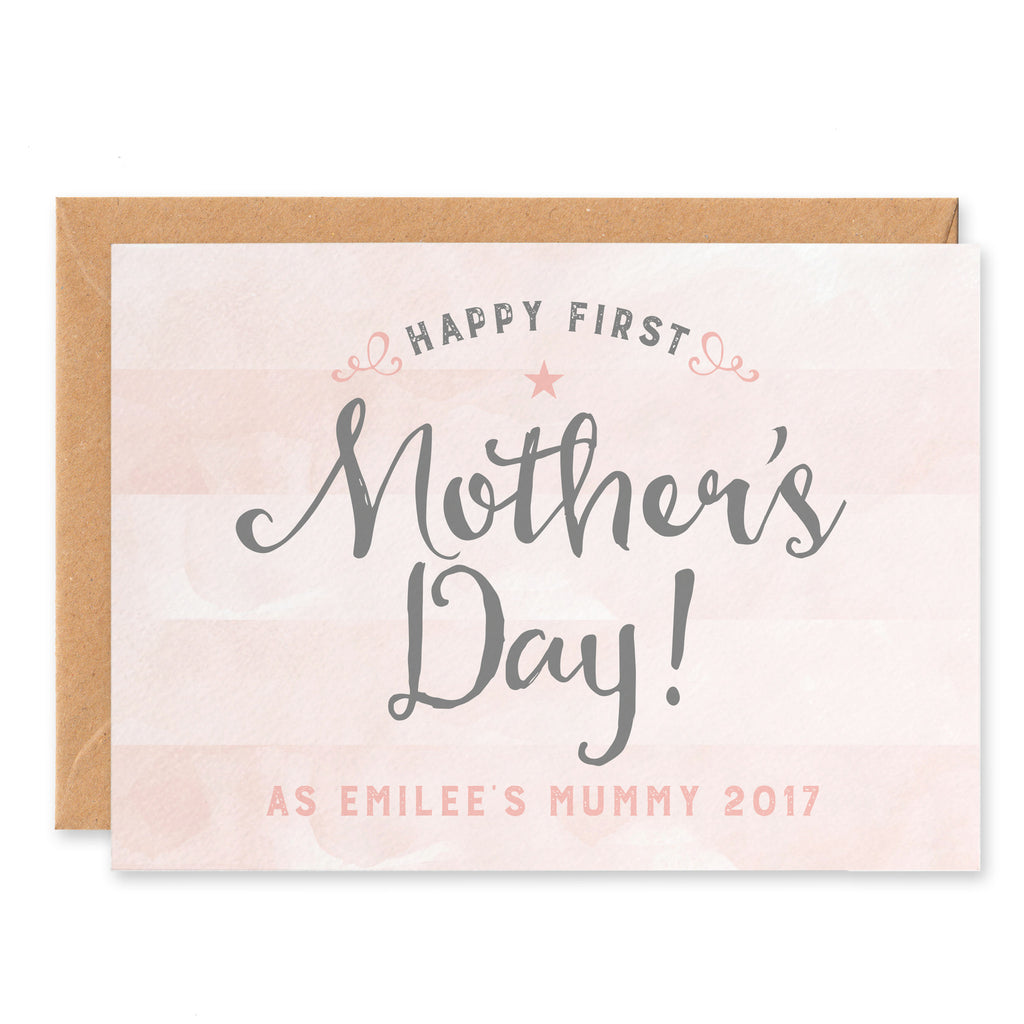 Pink stripy Personalised First Mother's Day Card