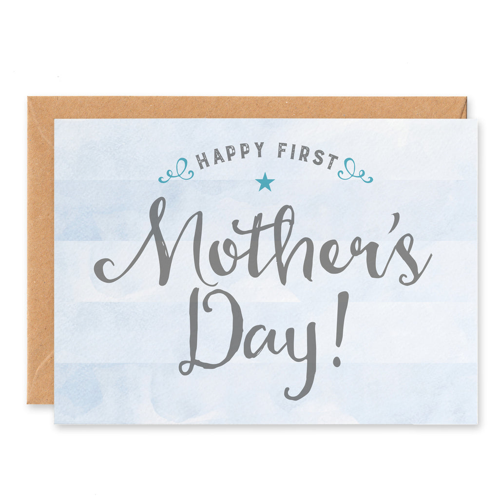 Blue stripy First Mother's Day Card